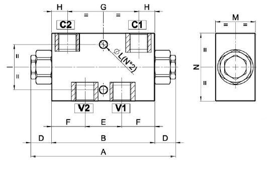 Zawór zwrotny sterowany typ: FPDL - rysunek techniczny