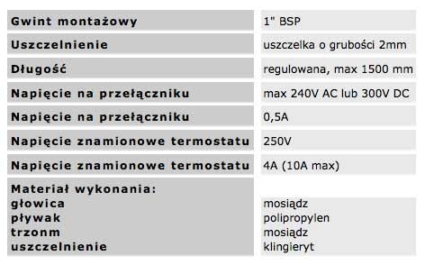nastawny_przełacznik_plywakowy_typu_FL_dane_techniczne